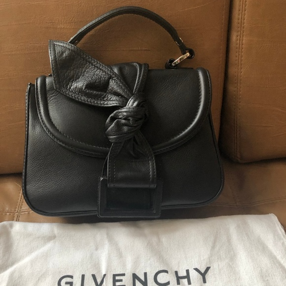 Givenchy Handbags - NEW MINI GIVENCHY BAG BLACK LEATHER WITH BOW 100%